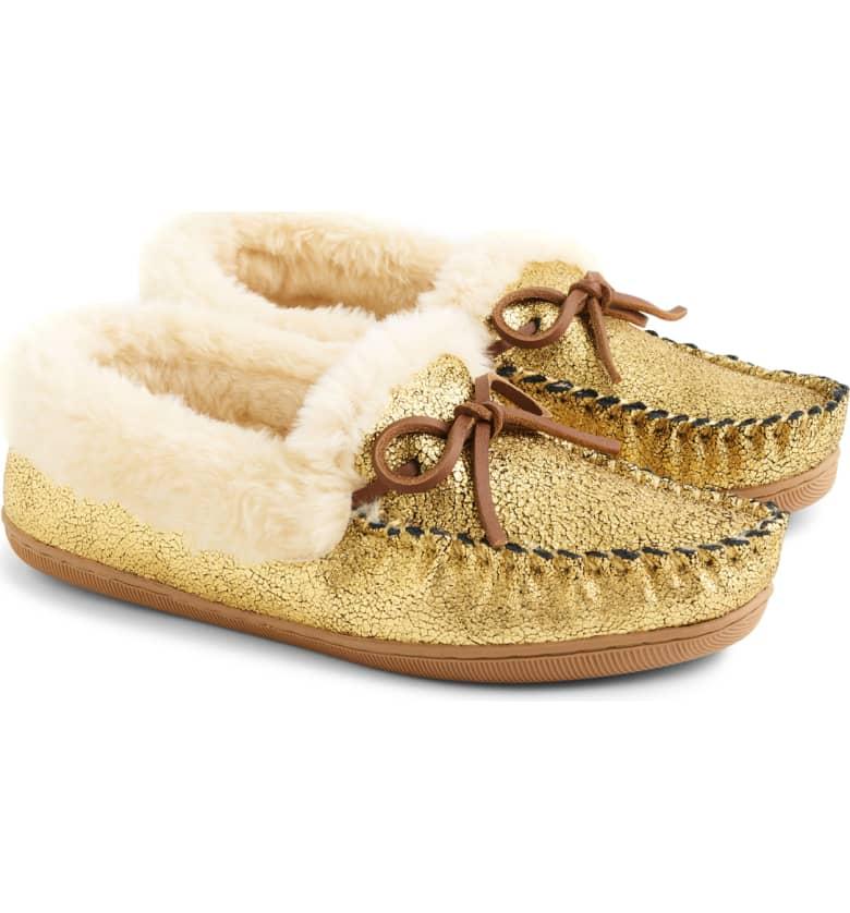 gold jcrew slippers