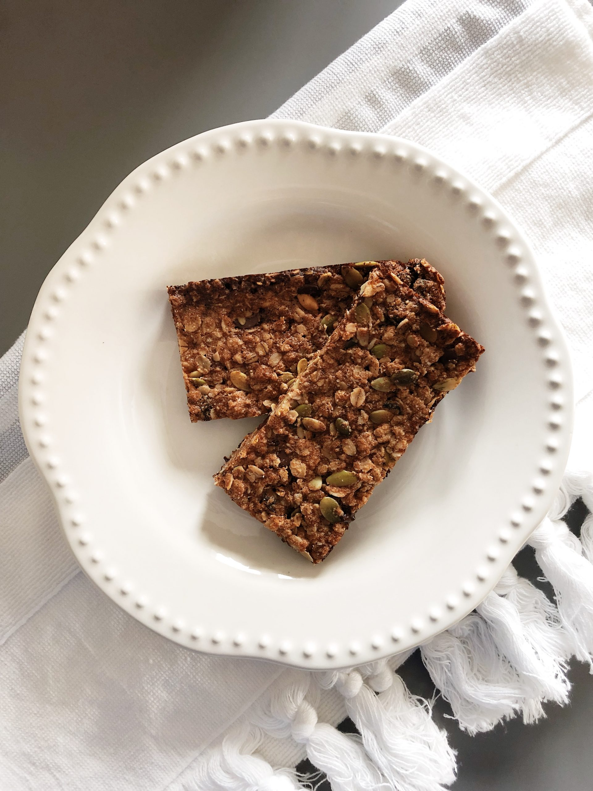 Image of two granola bars sitting on a plate