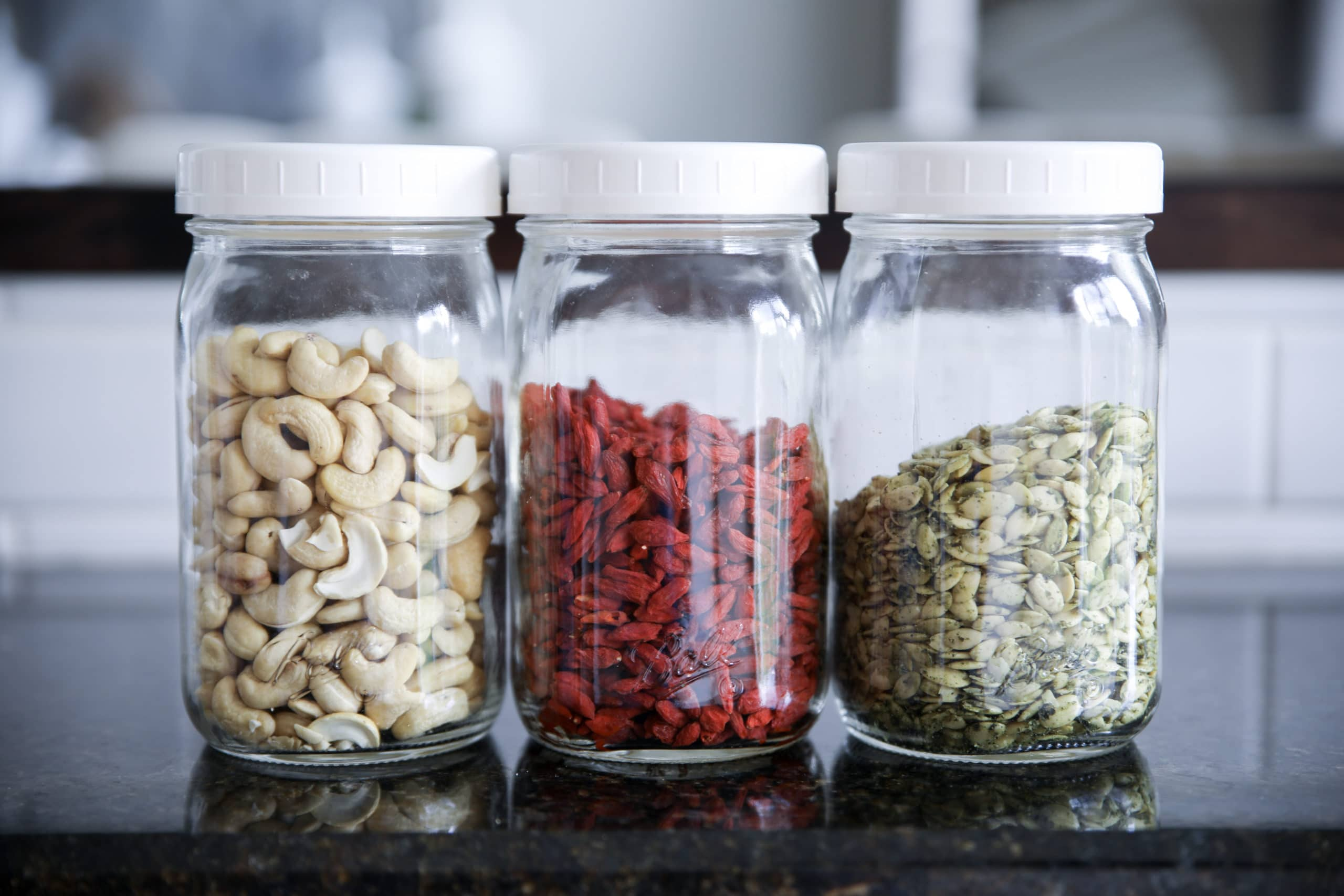 Image of nuts and seeds in jars